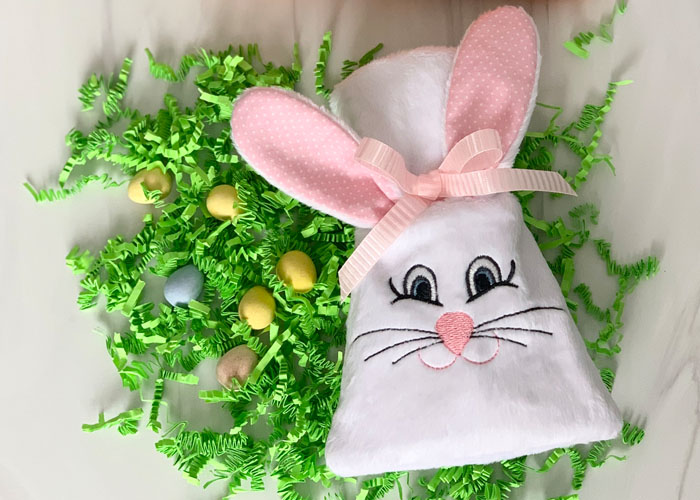 In the Hoop Bunny Treat Sack in Cuddle® Minky