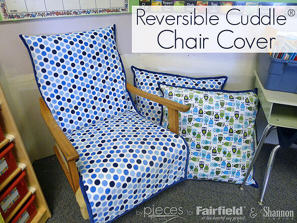 Fun DIY sewing project - Cuddle® Pillows with contrast binding and Chair Cover - tutorial by Pieces by Polly