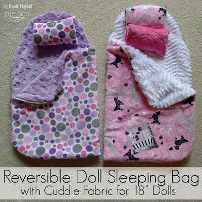 "Cuddle DIY 18"" Doll reversible doll lsleeping bag sewing tutorial"