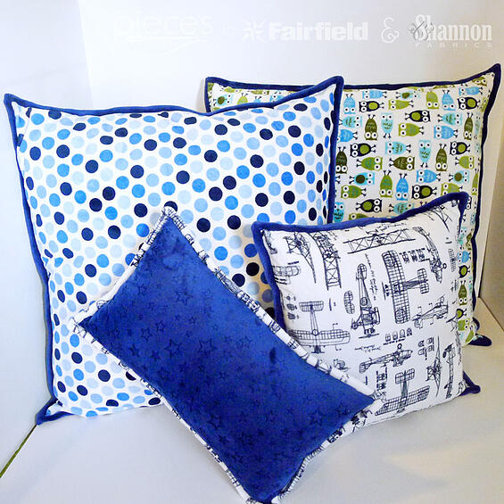 Fun DIY sewing project - Cuddle® Pillows with contrast binding - tutorial by Pieces by Polly