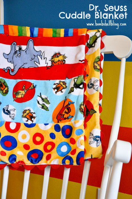 Dr. Seuss Cuddle Blanket with Ric Rac Tutorial
