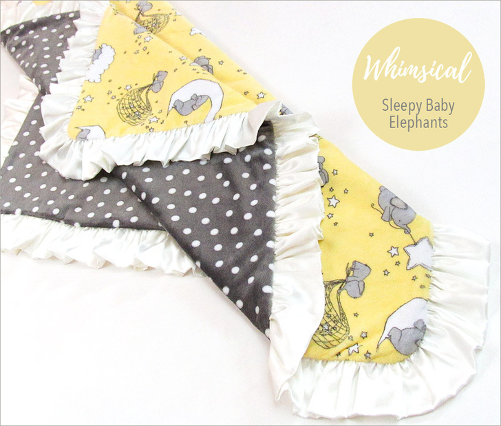 Dream Big Cuddle Baby Blanket Sewing Tutorial so cute with the whimsical elephant print