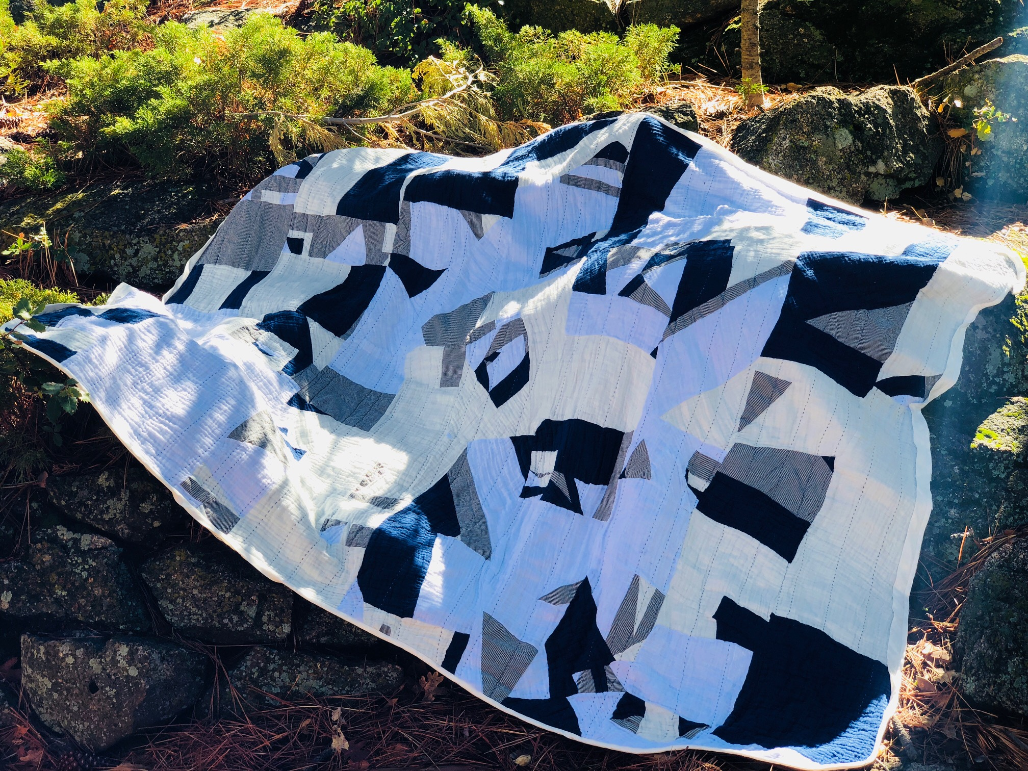 Embrace Double Gauze Improvisational Quilt by RaquelSews- in gorgeous solids with denim