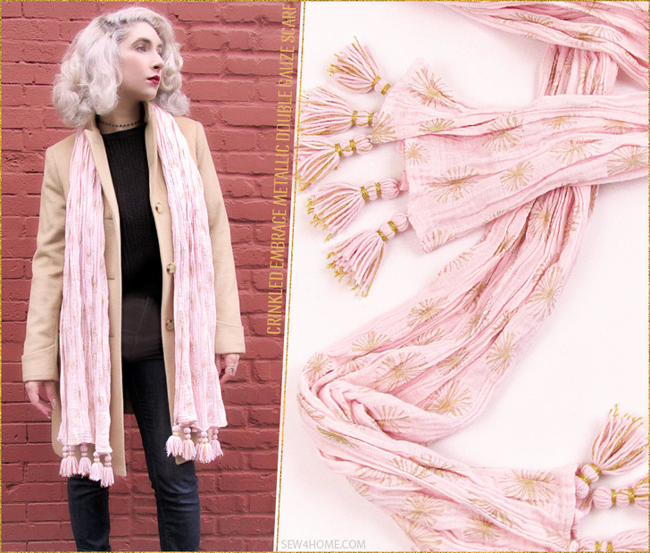 Embrace Double Gauze Metallic Crinkle Scarf lovely for any occasion