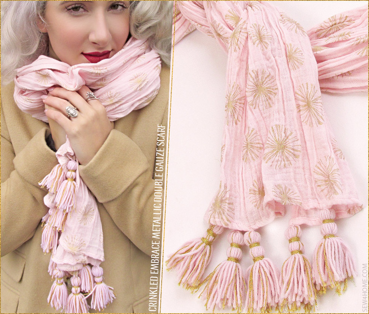 Embrace Double Gauze Metallic Crinkle Scarf so luxurious
