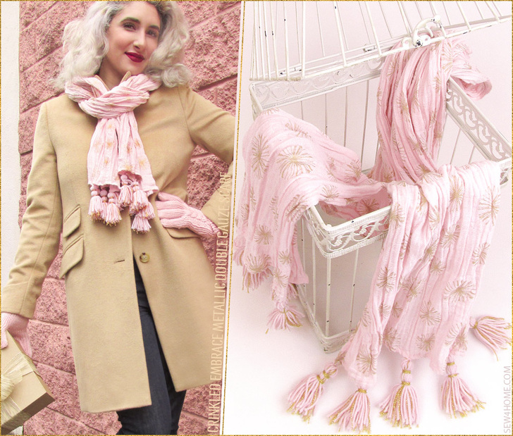 Embrace Double Gauze Metallic Crinkle Scarf wear it all year round