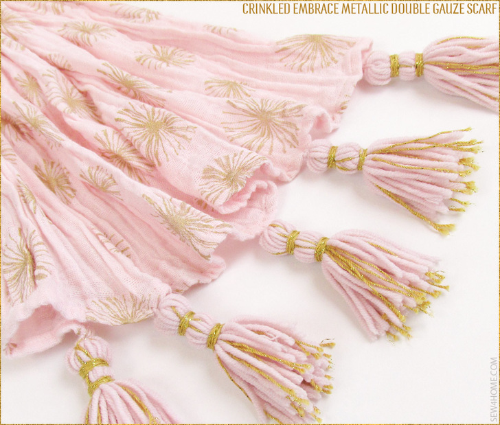 Embrace Double Gauze Metallic Crinkle Scarf with metallic tassels