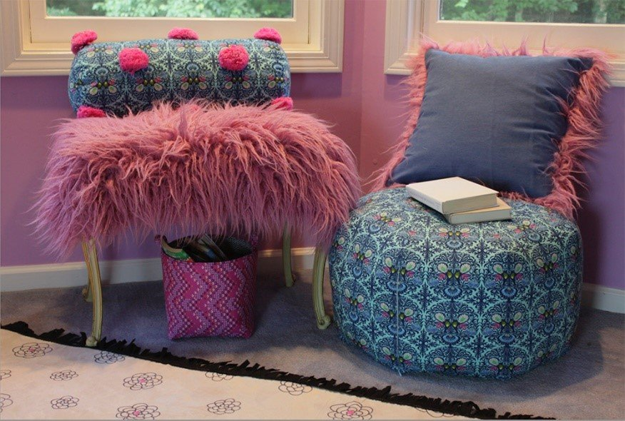 Fairfield Boho Bedroom with Shannon Fabrics faux fur bench and throw pillow