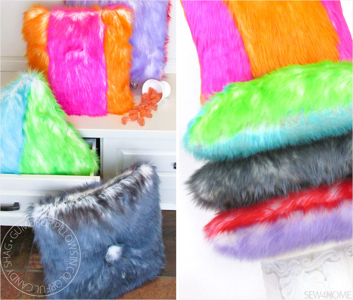 Gumdrop Candy Shag Faux Fur Pillows DIY by Sew4Home so cheery and colorful