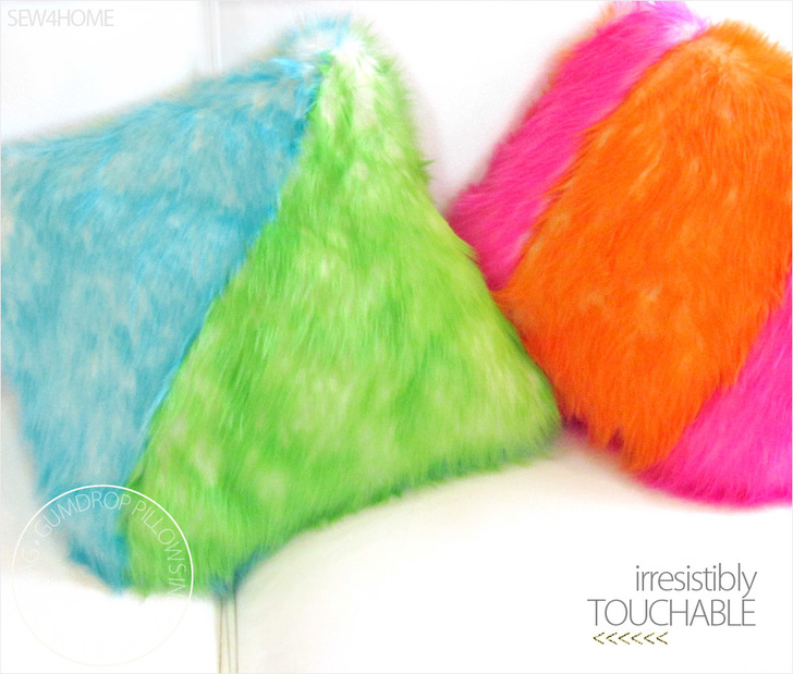 Colorful Gumdrop Candy Shag Faux Fur Pillows DIY by Sew4Home so touchable