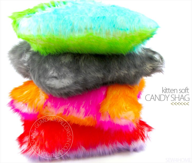 Gumdrop Candy Shag Faux Fur Pillows DIY sewing tutorial by Sew4Home