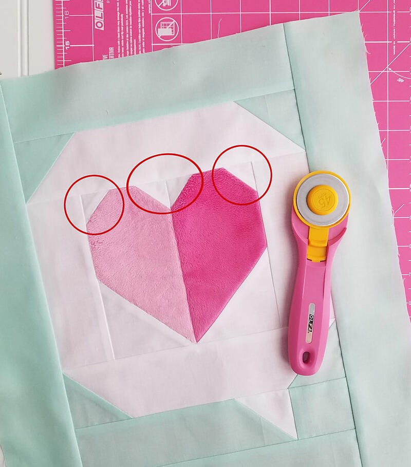 I Heart You Quilt Block in Cuddle tips and tricks for an adorable block