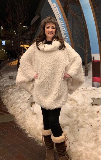 Luxe Poncho out on the town