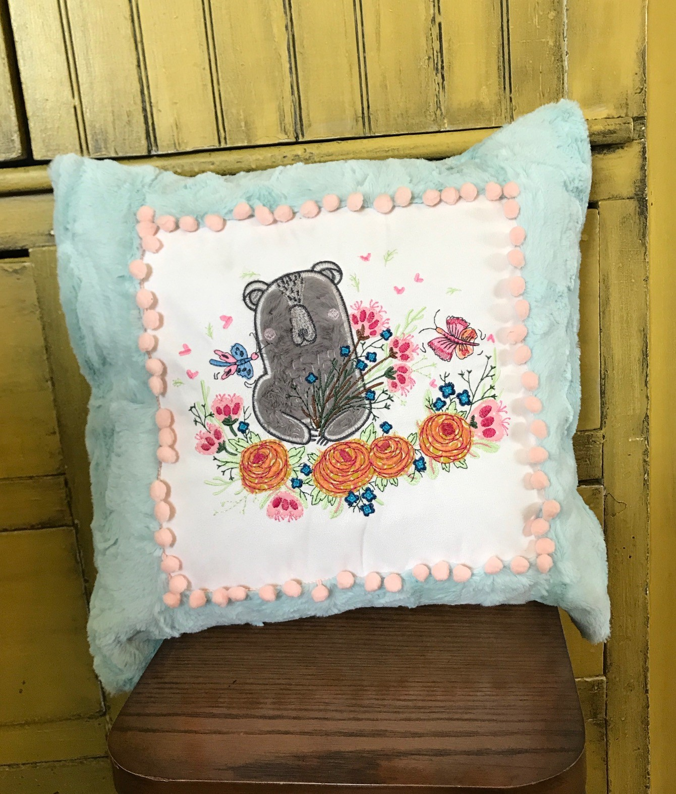 Luxe Cuddle Frame Pillow with bear