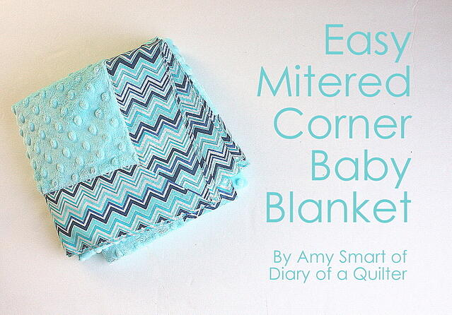Mitered Corner Baby Blanket by Amy Smart-001