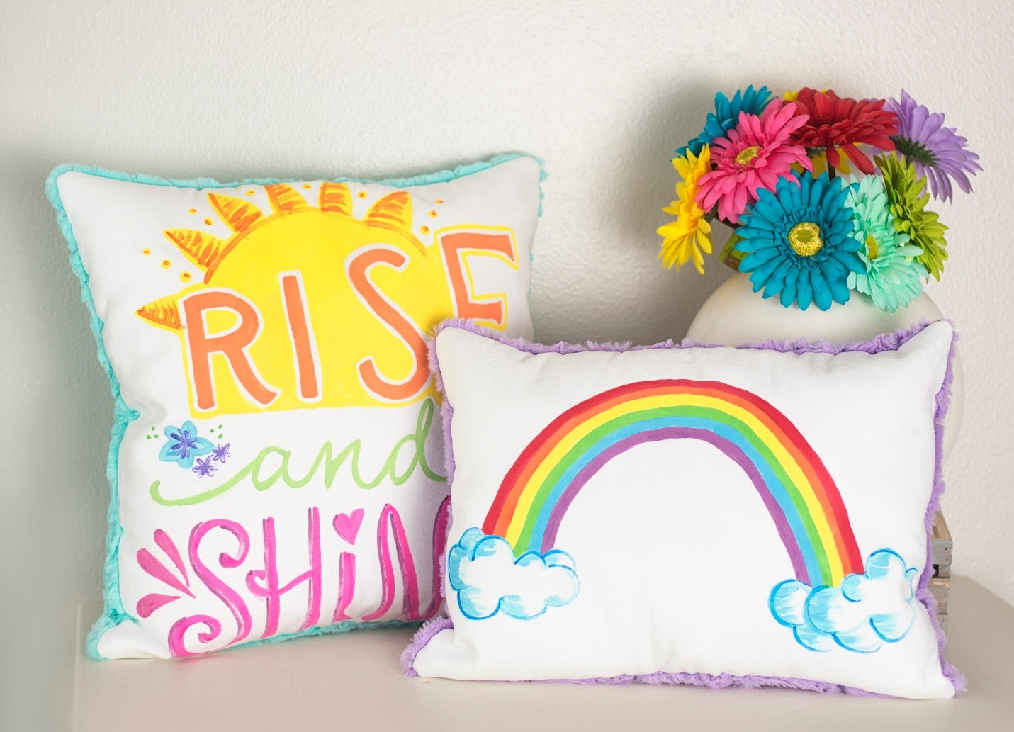 Pretty Painted Pillows DIY for Spring in Cuddle® Suede and Luxe Cuddle®