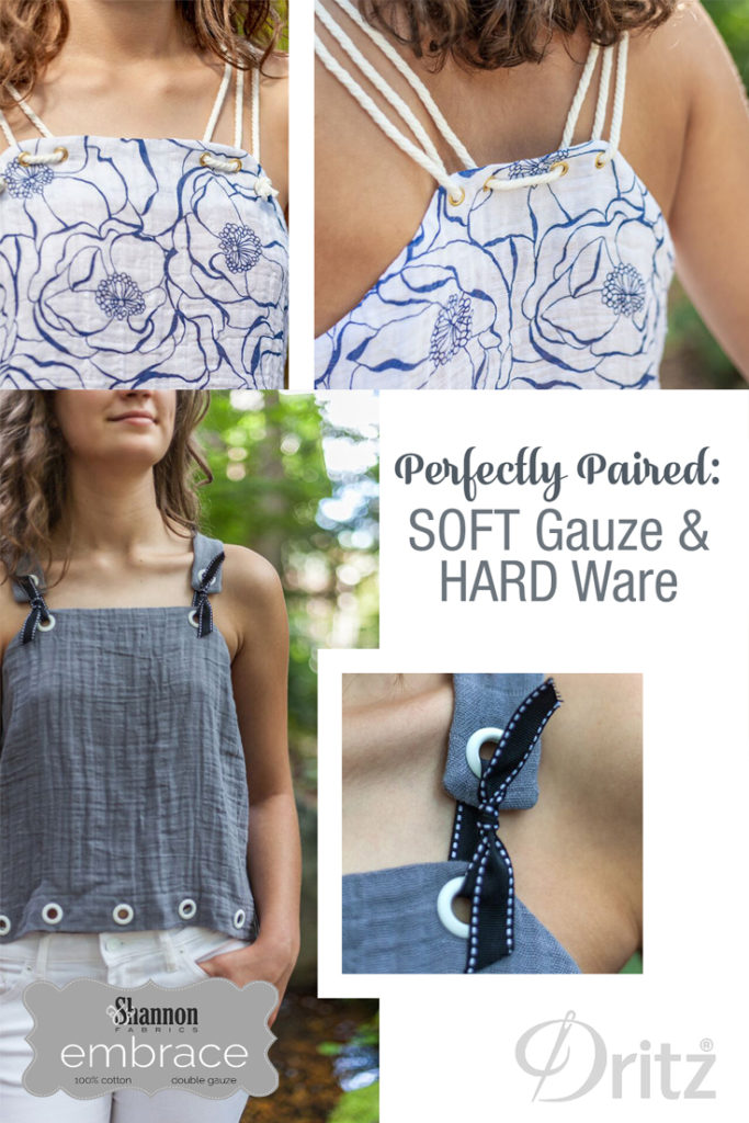 Dritz Hardware and Embrace Double Gauze make a pretty tank top