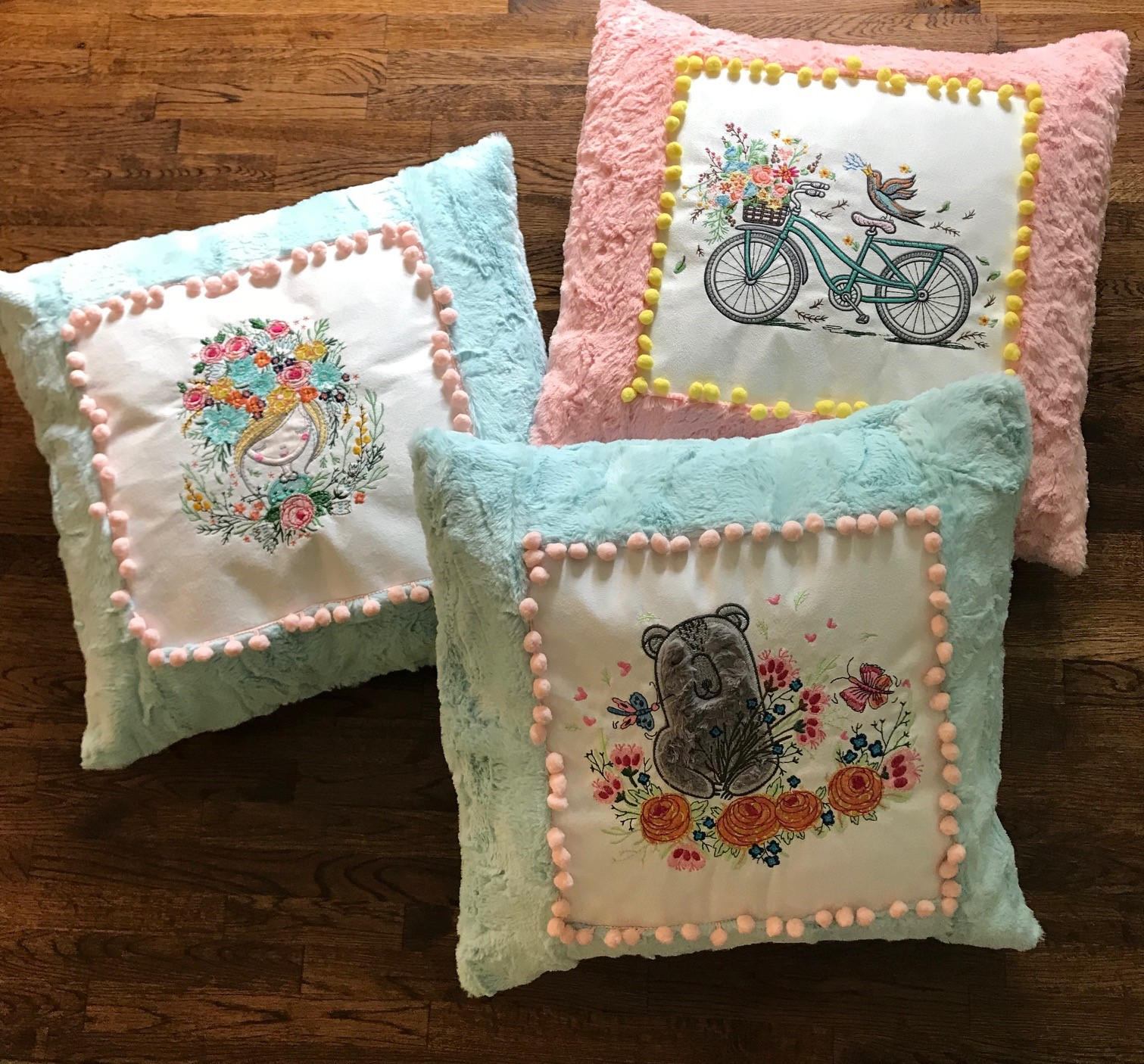 Pretty Luxe Cuddle Frame Pillows with machine embroidery by Anita Goodesign