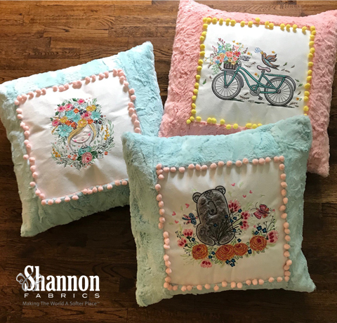 Pretty pillows in Luxe Cuddle with machine embroidery