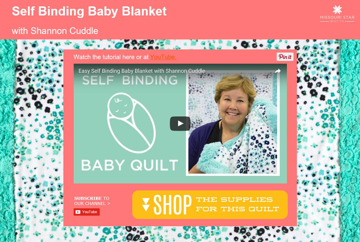Easy Self Binding Cuddle Baby Blanket
