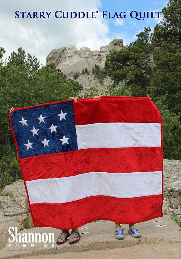 Starry Cuddle Minky Fabric American Flag Quilt  tutorial and free pattern