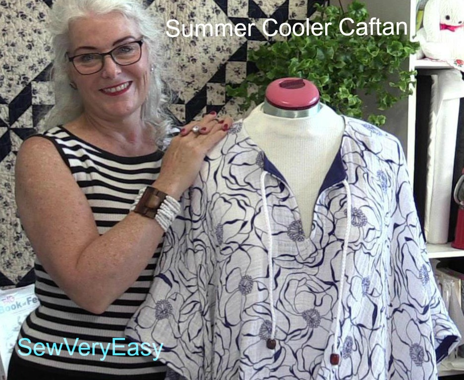 Embrace double gauze Summer Cooler Caftan - a sewing tutorial by SewVeryEasy