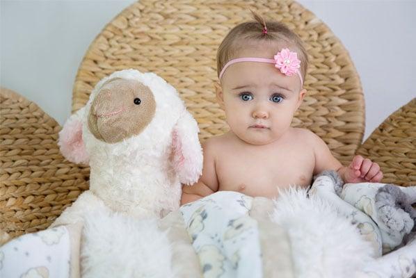 Wee One Love Ewe with little girl