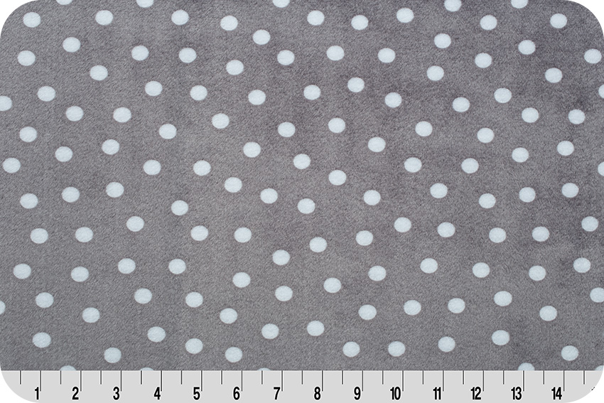 Alotta Dots Cuddle fabric in Graphite - a great neutral polka dot