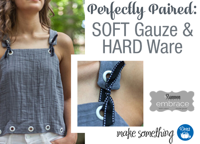 Embrace Double Gauze Tank top and Dritz Hardware - we love the pairing of Hard and Soft!