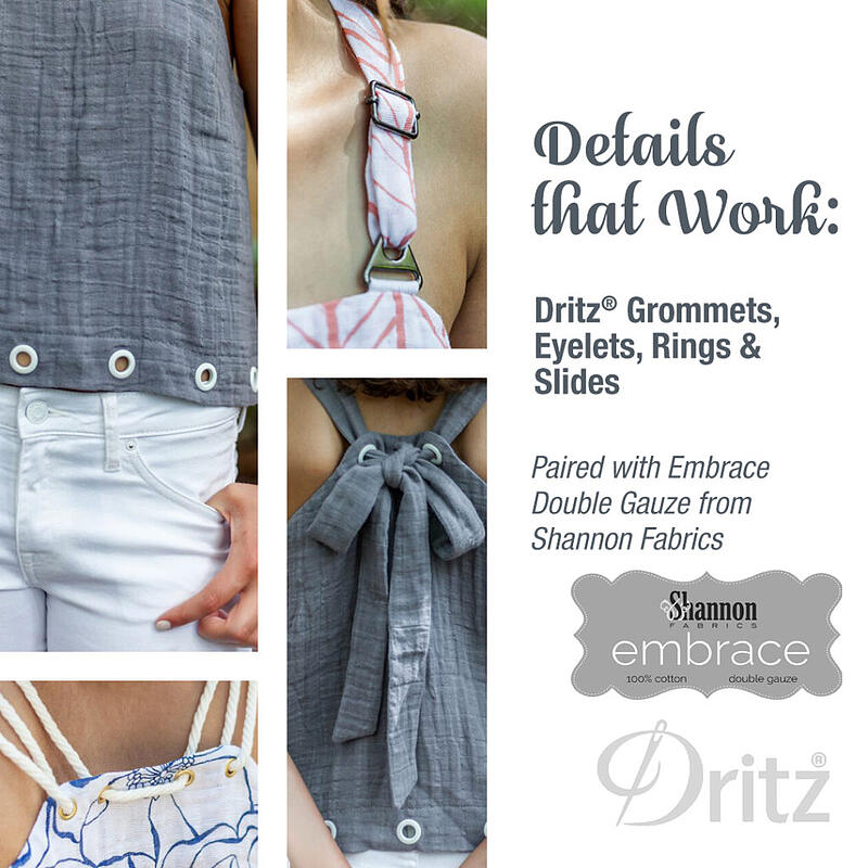 Embrace™ Double Gauze Tank top and Dritz Hardware - we love the pairing of Hard and Soft!