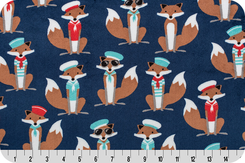 Sailor Fox Navy Cuddle Fabric, by Andie Hanna, a licensed Robert Kaufman Cuddle Collection