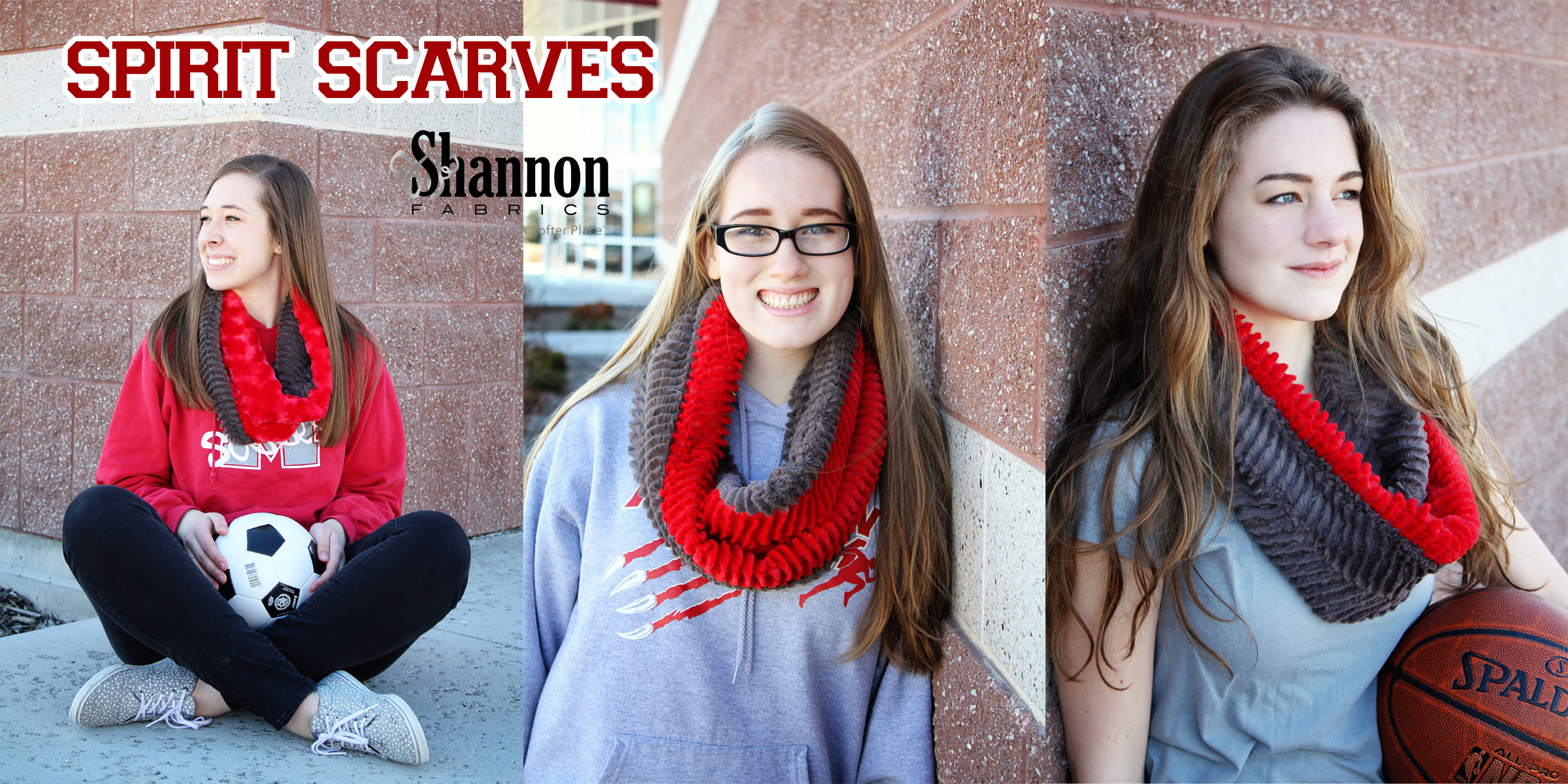 Team Spirit Cuddle Infinity Scarf Free Sewing Pattern from Shannon Fabrics! I want to sew these!