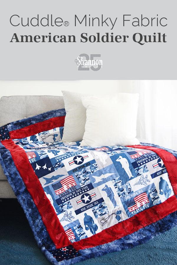 Military-Themed Cuddle® Minky Plush Fabric Throw