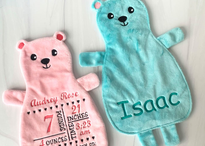 Darling Bear-Themed Baby Projects to Embroider and Sew in Cuddle® Minky Fabric