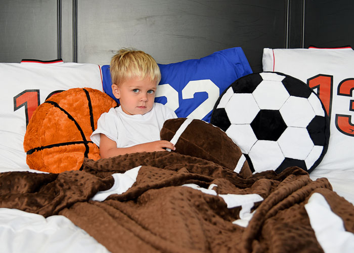 Fun Minky Sewing Projects and Fabrics for Sports Fans and free football quilt pattern