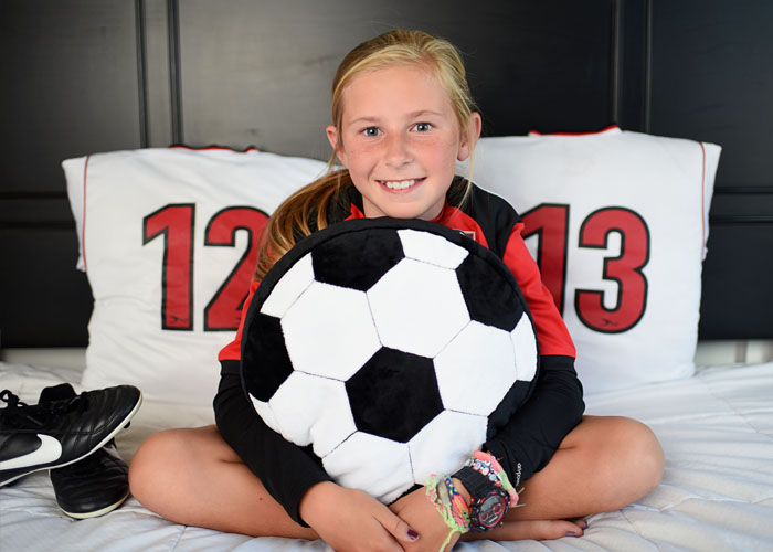 Fun Minky Sewing Projects and Fabrics for Sports Fans and soccer ball pillow