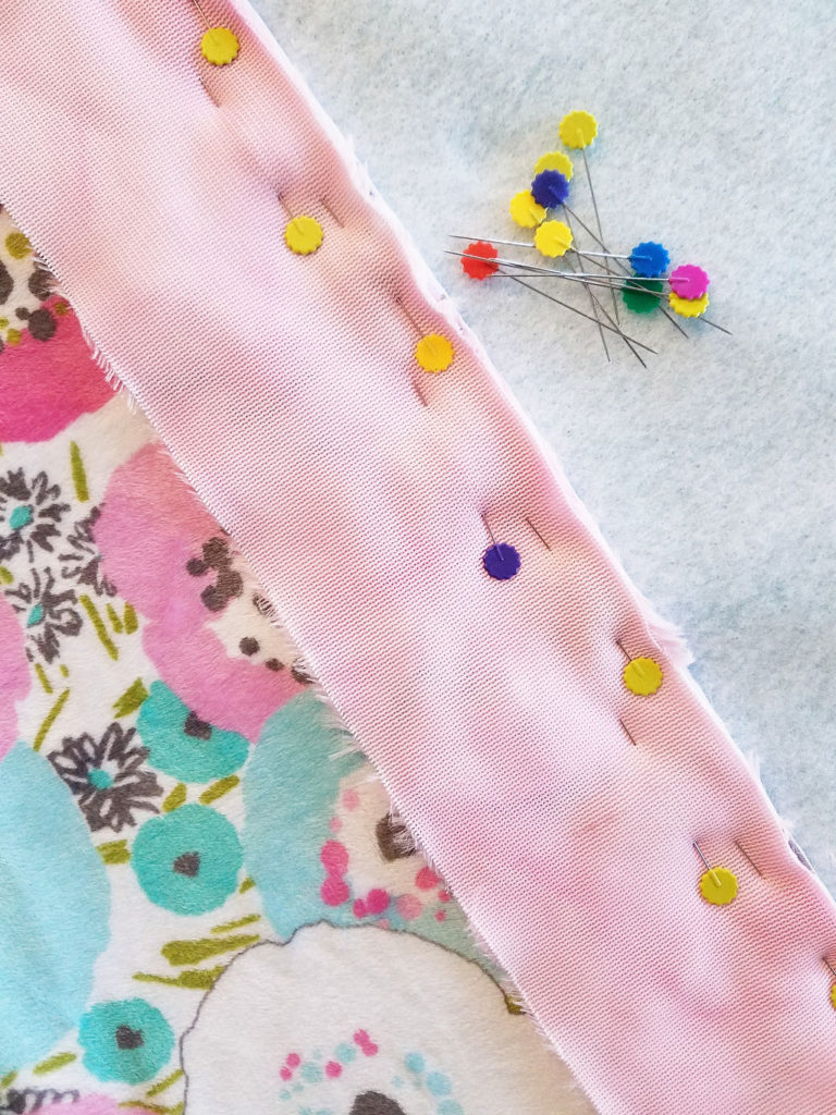 minky fabric quilt pinning