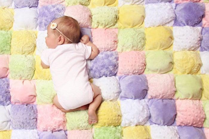 Minky Plush Fabric Puff (Rag) Quilt Tutorial