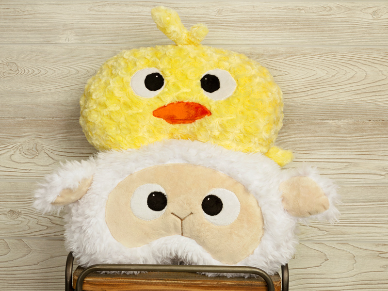 Cuddle® Minky Animal Pillows - Barnyard Buddies Jelly Bean Faces Pillows- Duckling and Sheep!