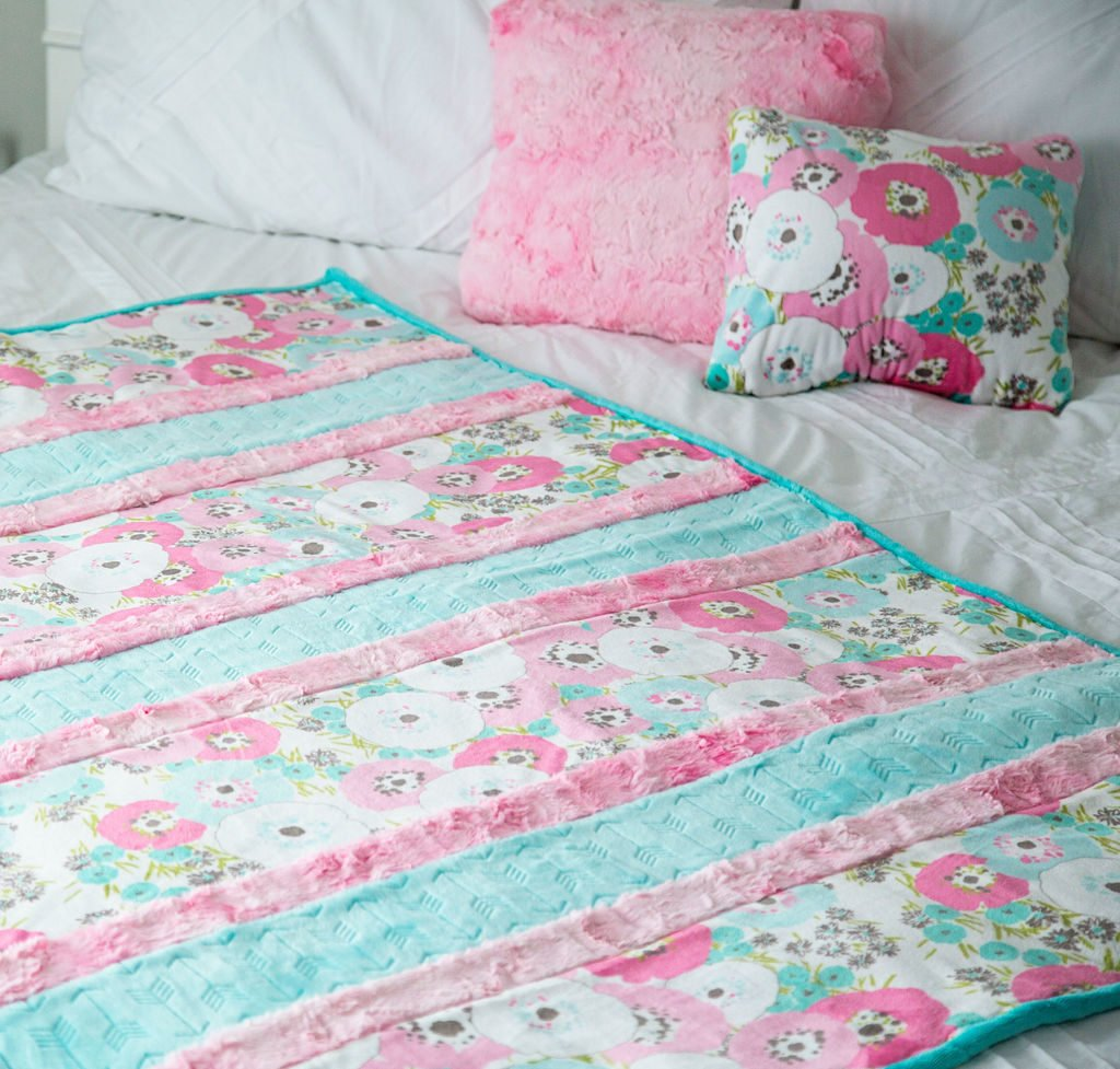 minky fabric strip quilt